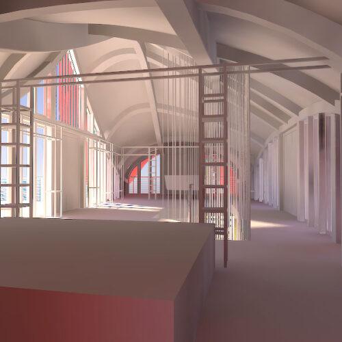 Arkitektur, interiör, hotell i Kina, skapat på Laj Illustration