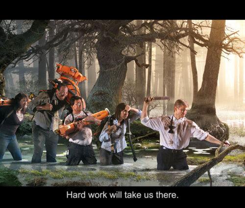 Fotomontage av Laj Illustration. Abb-anställda bär robotdelar i ett träsk med vatten.