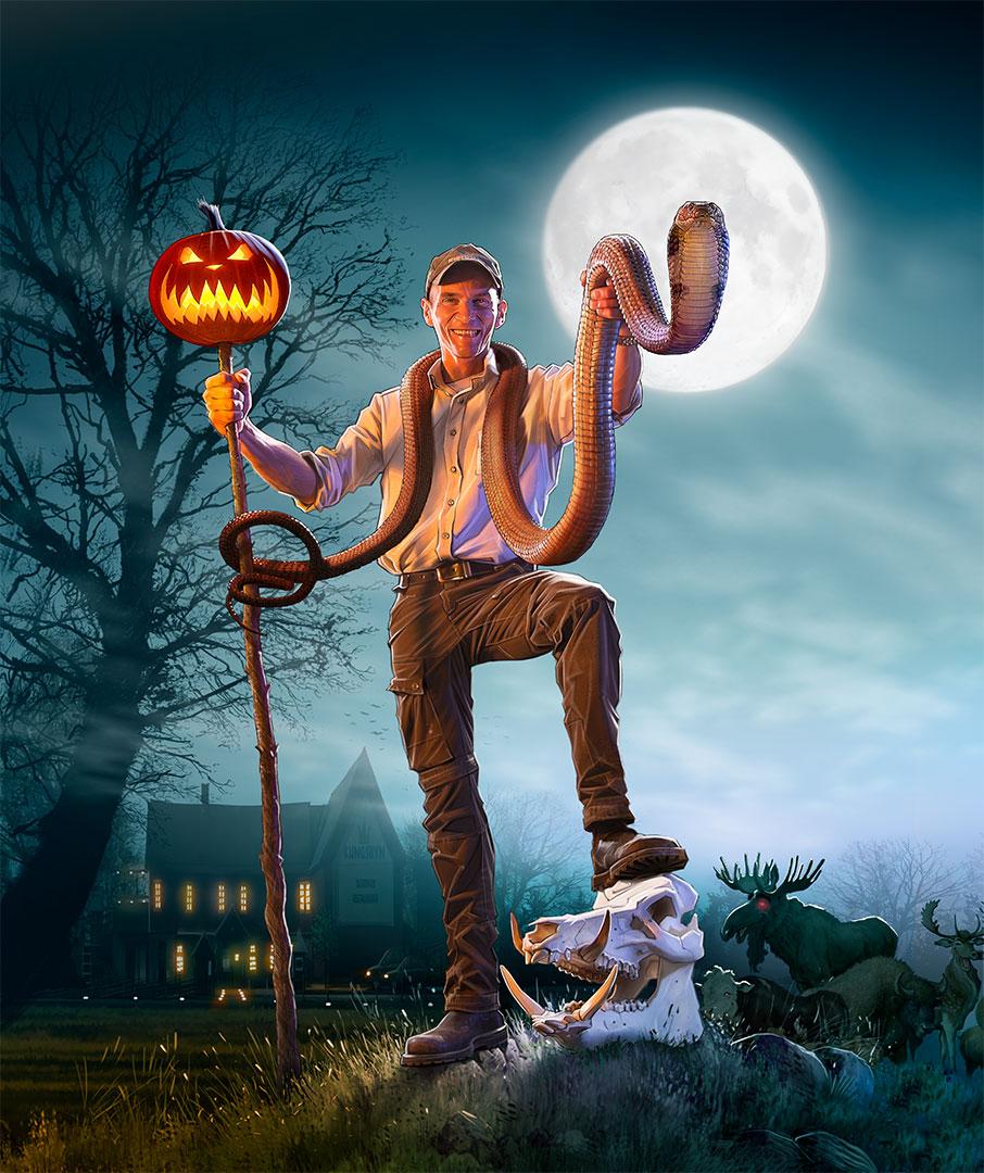 tecknad-skyltning-Kungsbyn, halloween, skapd på laj-illustration