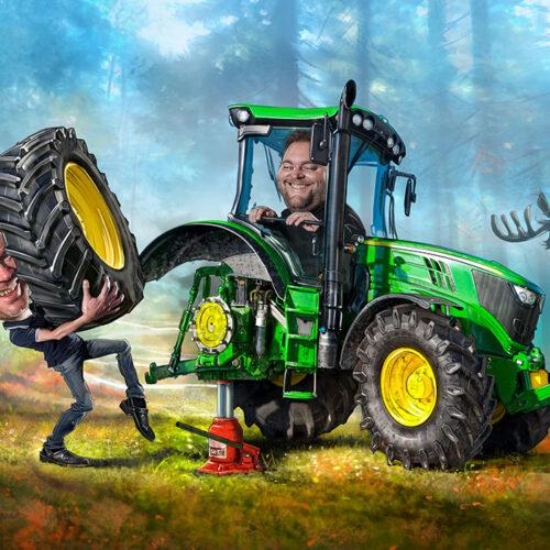 Uppdrag till Däckteam- skapat på Laj illustration. Digitalt målad Karikatyr. Däckbyte på traktor.