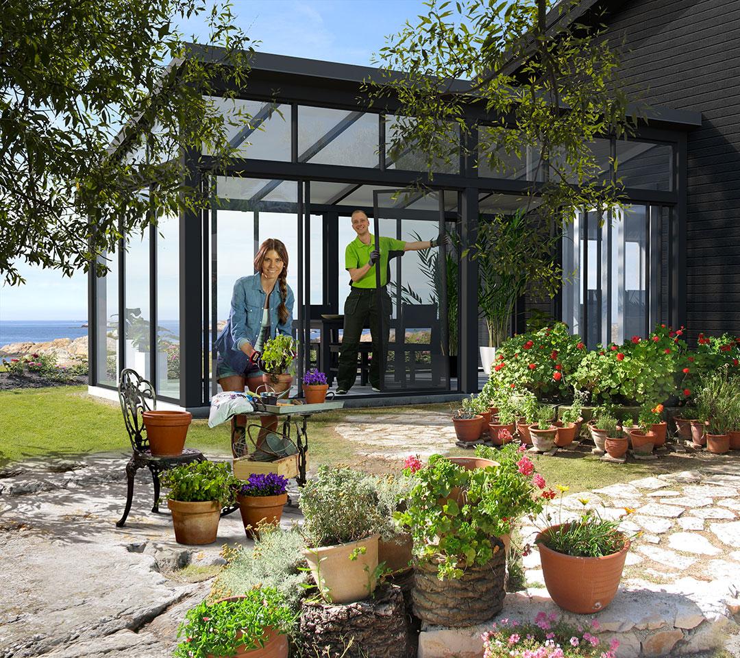Blomplantering, växthus, sommar, skärgård, ryds glas, laj illustration