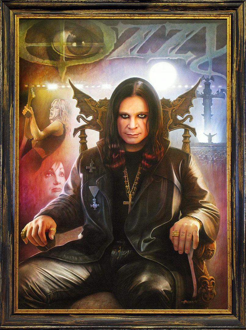 Målning av Ozzy Osbourne, skapad på Laj Illustration