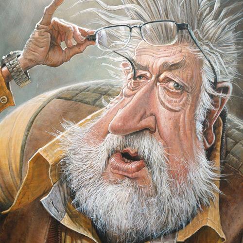 Karikatyrporträtt på Leif GW Persson