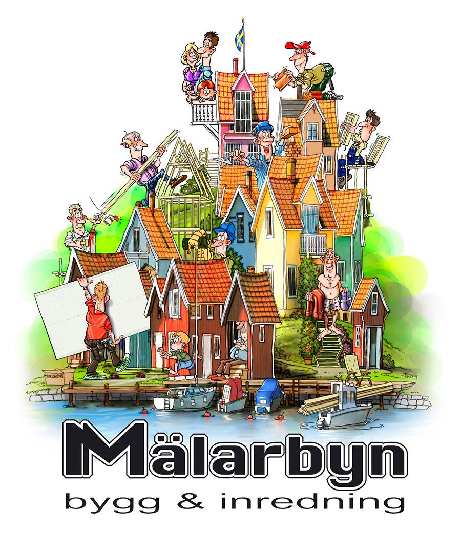 tecknad illustration till Mälarbyn, bygg & inredning