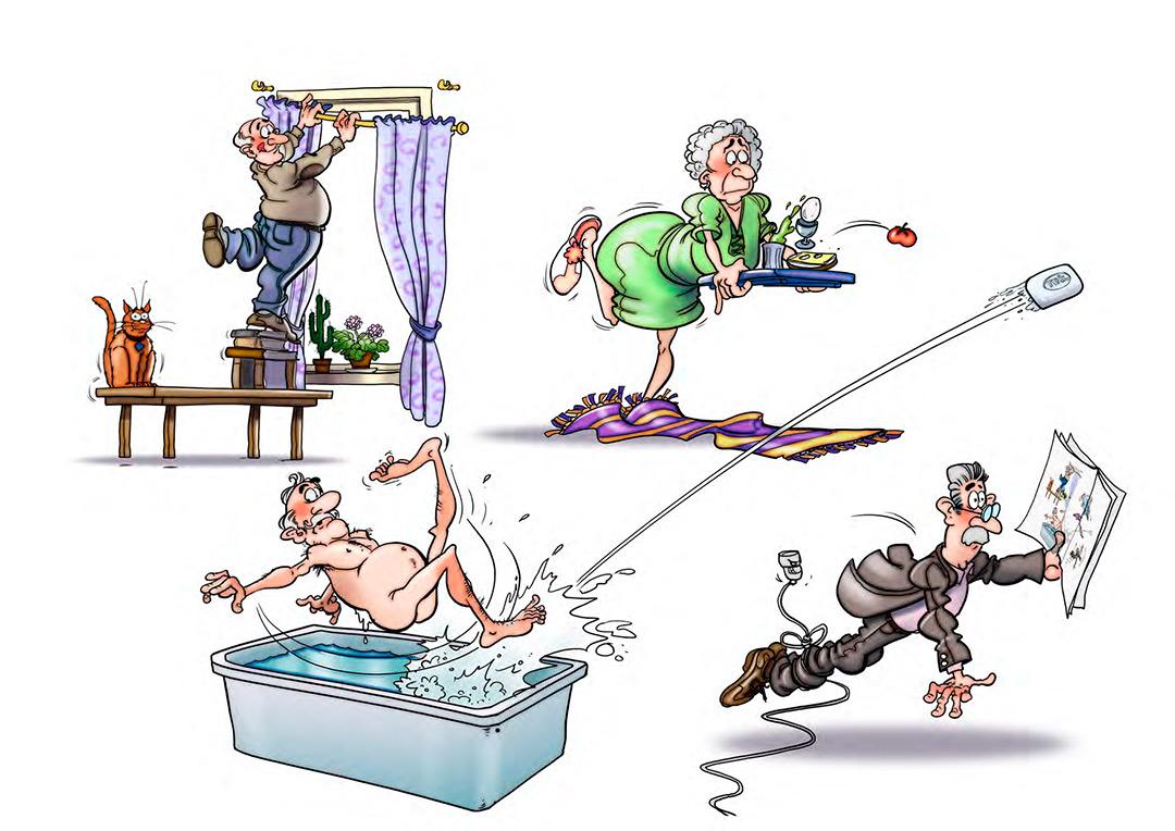 tecknad illustration om hemberdskap till civilförsvaret