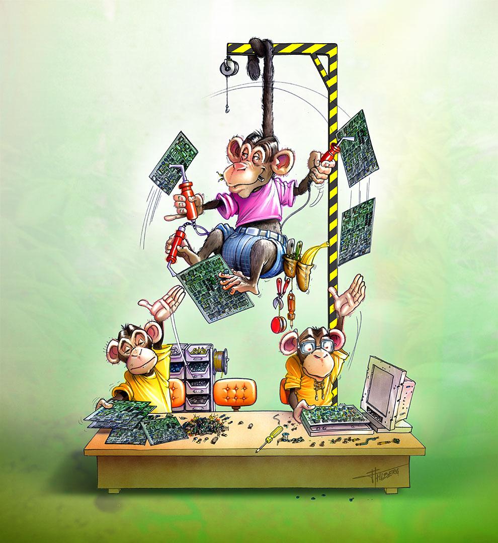 tecknad illustration på apor som tillverkar kretskort. Uppdrag till Hatteland Electronics