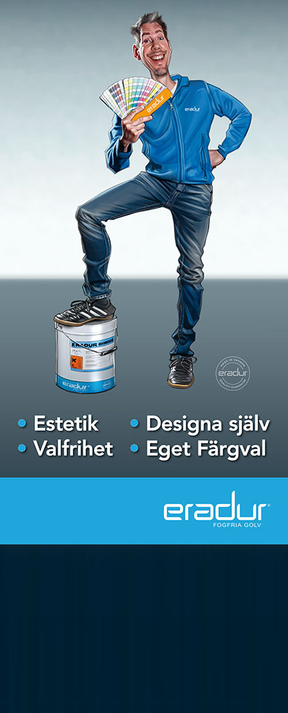 Rollup till Eradur som visar kulörer för golvfärg.