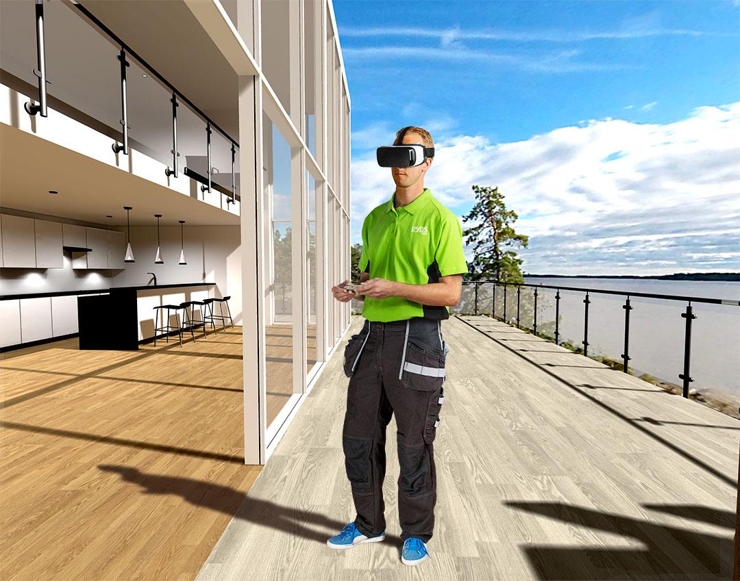 VR i 3D-miljö - bilden visar Ryds Glas marknadsföring om deras glasupplevelse i 3D miljö med VR-glasögon.